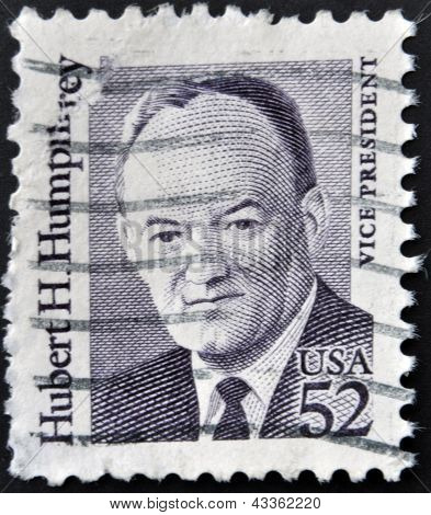A stamp printed in the USA shows Hubert H Humphrey Vice President