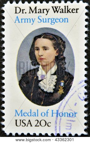 stamp printed in USA shows Mary Walker
