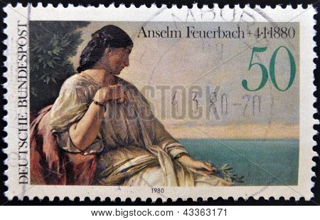 A stamp printed in Germany shows Iphigenia by Anselm Feuerbach