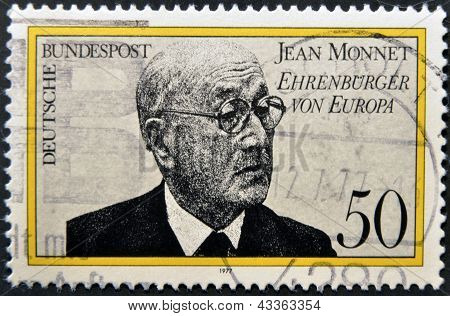stamp printed in Germany shows Jean Monnet French proponent of unification of Europe