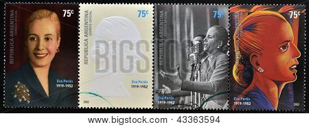 set of 4 stamps printed in Argentina with Evita Peron
