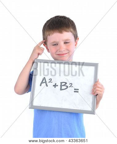 School Boy Thinking About Math Answer