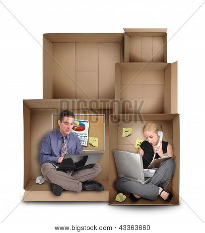 Small Entrepreneur People Working In Box