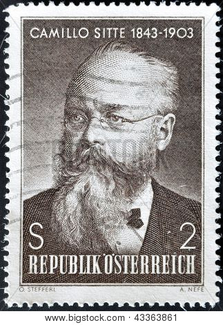 A stamp printed in austria shows Camillo Sitte