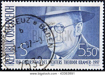 A stamp printed in Austria shows Theodor Kramer