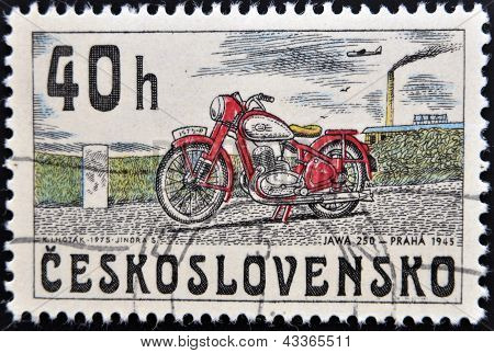 stamp printed in Czechoslovakia shows image of a vintage motorcycle JAWA 250