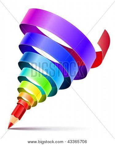 conceito de design de lápis arte criativa com espiral da fita de arco-íris cor isolada no fundo branco