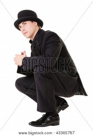 Retro Stylish Man In Black Suit