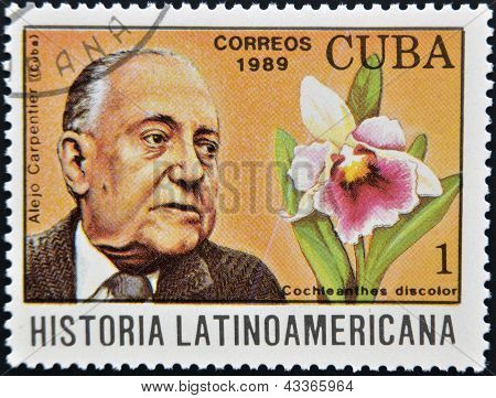 A stamp printed in CUBA dedicated to Latin American history shows Alejo Carpentier