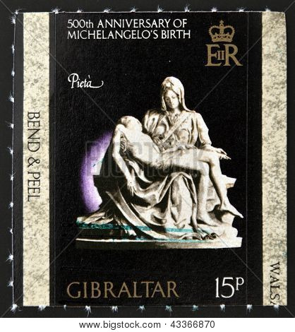 stamp printed in Gibraltar dedicated to 500th anniversary of Michelangelo�s birth shows la pieta