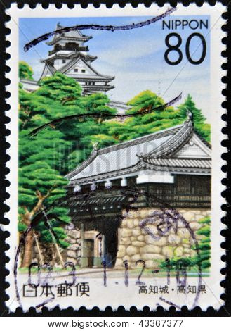 JAPAN - CIRCA 2000: A stamp printed in Japan shows Kocki city and castle circa 2000