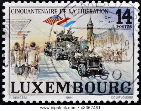 LUXEMBOURG - CIRCA 1994: A stamp printed in Luxembourg shows the liberation of fascism in Europe