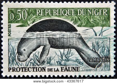 stamp printed in Niger dedicated to protection of wildlife shows Lamantin