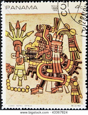 stamp printed in Panama shows image from the Codex Nuttall