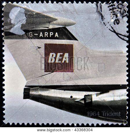 1964 Trident with the BEA (British European Airways) red square logo design