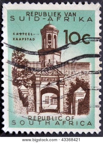A stamp printed in South Africa (RSA) shows Cape Town Castle entrance circa 1961
