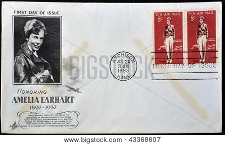 A postcard printed in USA shows Amelia Earhart