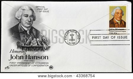 A postcard printed in USA shows John Hanson
