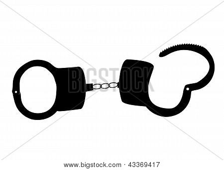 handcuffs silhouettes vector illustration on white background