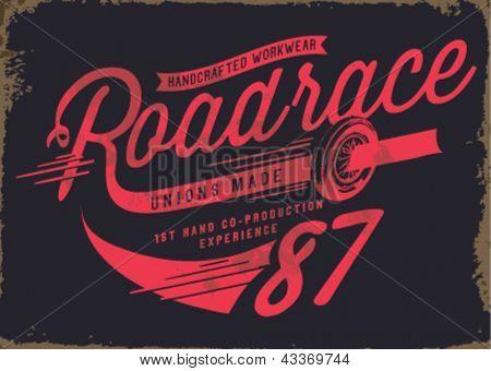 vintage illustration retro race car for apparel