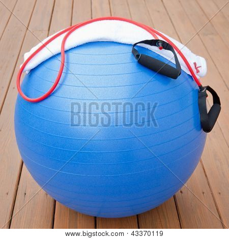 Exercise Equipment For Healthy Lifestyle - Fitness Ball, Expander And Towel.