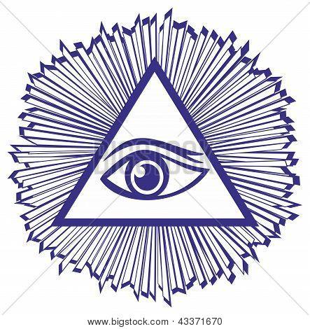 Eye Of Providence Or All Seeing Eye Of God - Famous Mason Symbol, Vector Illustration