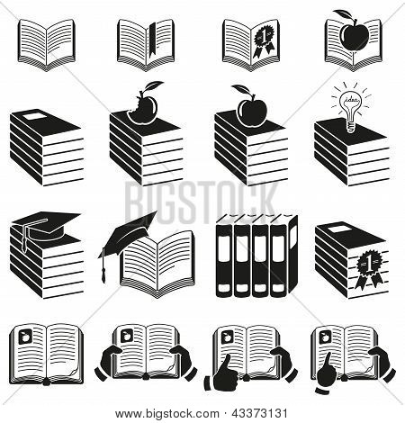 Set of icons of books.