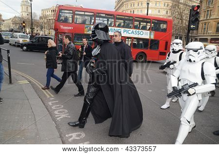 Darth Vader And Stormtroopers Out And About In Londons Trafalgar Square Area 14th March 2013
