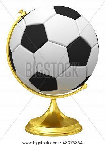 Soccer Ball As Terrestrial Globe On Golden Stand