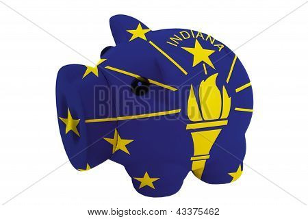 Piggy Rich Bank In Colors  Flag Of American State Of Indiana    For Saving Money