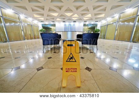 Hall at business center after floor cleaning