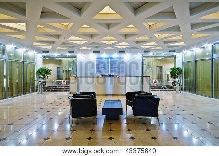 Empty lobby at office building