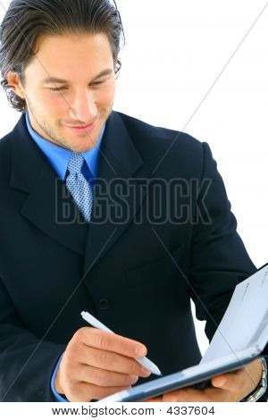 Closeup Businessman Looking At Agenda