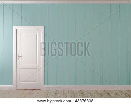 Pared azul con una puerta