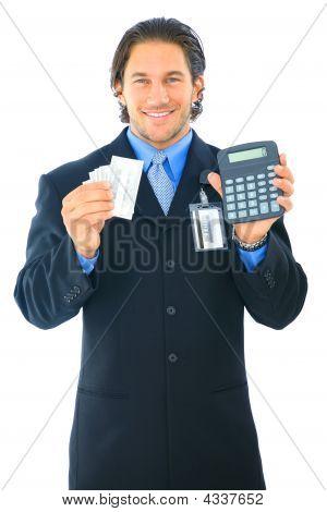 Businessman Counting Money Calculator