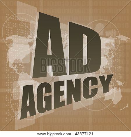 Word Ad Agency On Digital Touch Screen 3D