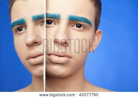 Macho bonito com maquiagem criativa