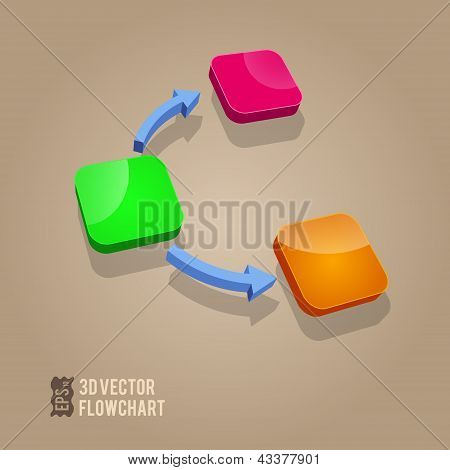 Flow Chart Diagram - Bussines Info Graphic Elements - Vector Illustration