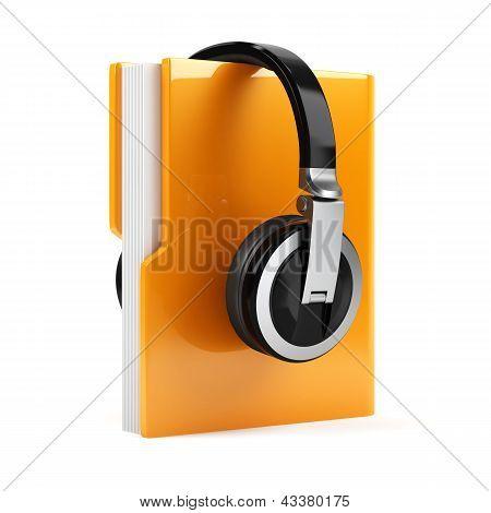 Computer Folder With Earphones