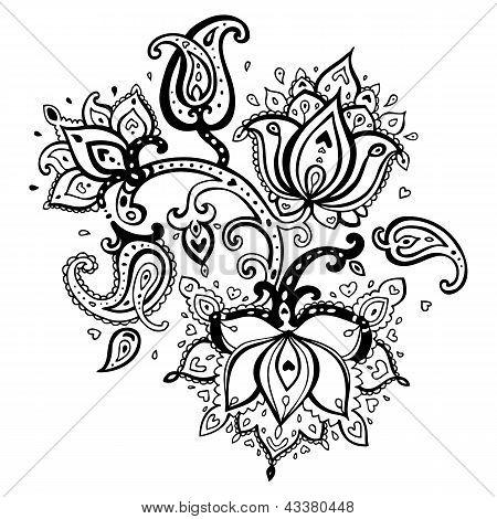 Hand Drawn Paisley ornament.
