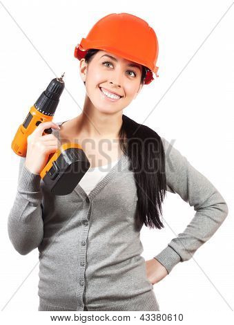pretty woman with hard hat and screwdriver. isolated