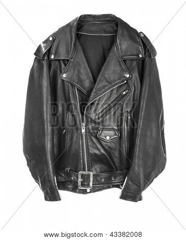 Vintage Leather biker jacket isolated on white