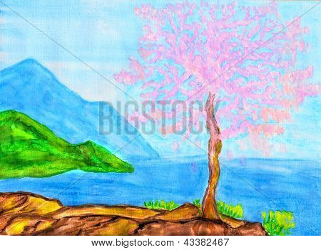Pink Tree On Sea Coast, Painting