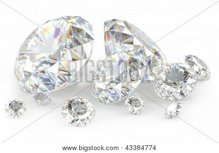 3d diamonds on white