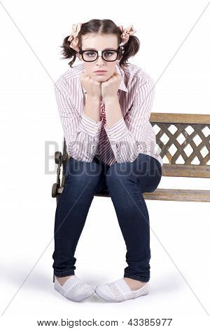 Lonely Business Girl Sitting On Park Bench