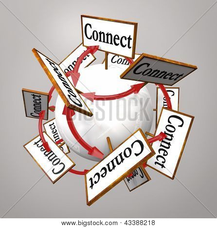 The word Connection on signs around a globe to symbolize networking and spreading information via word of mouth and communication