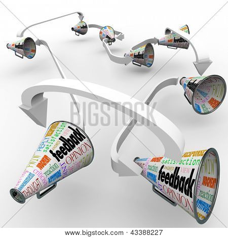 Many bullhorns or megaphones with the words Feedback, Opinion, Review, Answer, Reply, Criticism and more to symbolize spreading comments and views on a product or company