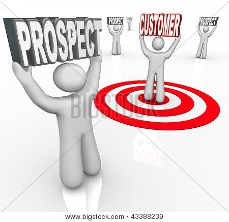 One person is targeted in a bulls-eye among many prospects to symbolize sales efforts to convert more consumers to purchase your product