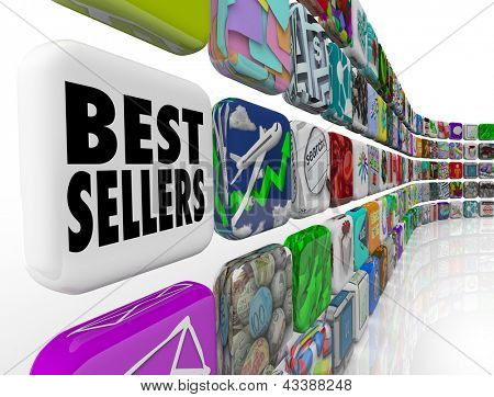 The words Best Sellers on an app tile in a wall of application icons for mobile software
