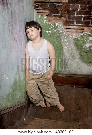 Boy in White Shirt and Khaki Pants
